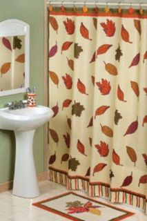 4pc Thanksgiving Fall Leaves Bath Set Rug Shower Curtain Hooks Toilet