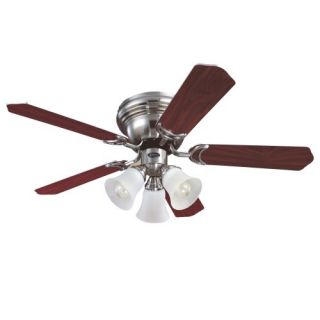 Inch Five Blade Ceiling Fan, Brushed Nickel with Frosted Glass Shades