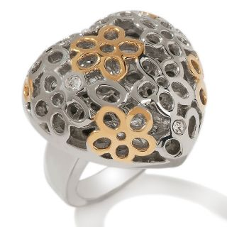 151 871 stately steel stately steel 2 tone filigree puffed heart ring