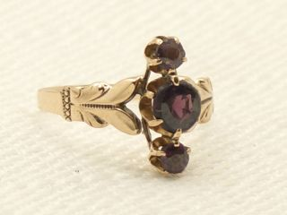 Estate Antique Victorian 10K Rose Gold Garnet Ring Vintage Find