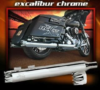 RC COMPONENTS EXCALIBUR Chrome 4 SLIP ON MUFFLERS HARLEY STREET GLIDE
