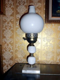 Antique Fenton Hurricane White milk Glass Table Lamp vintage glass