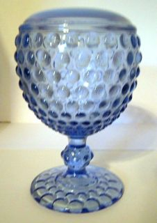 Fenton Large Blue Hobnail Milk Glass Pedestal Vase