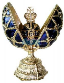 Blue Faberge Egg Crystals Jewellery Jewelry Trinket Ring Gift Box