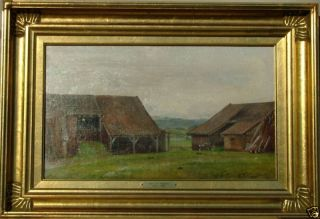 AAGAARD 19th c DANISH MASTER FARM BARNS LISTED OIL PAINTING FRAMED