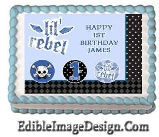 Lil Rebel 1st Birthday Edible Party Cake Image Cupcake Topper Favor