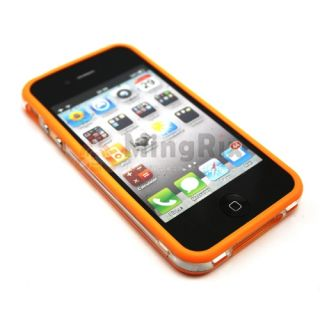 TPU Bumper Frame Silicone Skin Case with Side Button for iPhone 4S