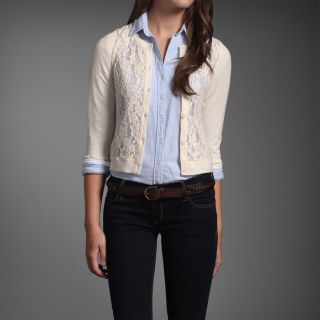 Abercrombie Hollister Women Cream Floral Lace Cardigan Sweater Top