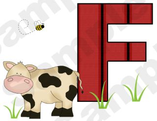 Barnyard Farm Animals Alphabet Letter Cow Pig Sheep Wall Border Decals