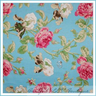 BonEful Fabric FQ Robyn Pandolph Shabby Chic Aqua Blue Flower Rose
