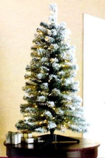 Flocked Pine Tree Pre Lit Clear Christmas Tree New