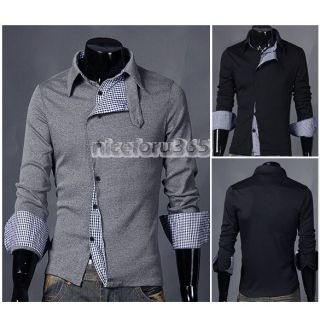N4U8 Korean Men Stylish Slim Fit Leisure Long Sleeve Shirt 2 Color 3