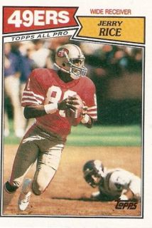 1987 Jerry Rice Topps Football Trading Card 115