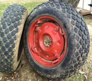 4x28 Tractor Turf Tires Massey Ferguson Spin Out Rims Wheels MF35 Ford