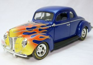 1940 Ford Coupe Blue with Flames Ertl 1 18 Scale Diecast Model Car