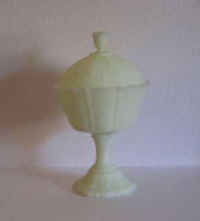 Fenton Covered Compote Candy Dish Paneled Daisy Satin Glass