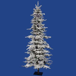 Flocked Georian Fir 6 Artificial Christmas Tree with Multicolored LED