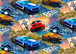 New Fleece Ford Mustang Cars Allover Fleece Fabric Print by the Yard