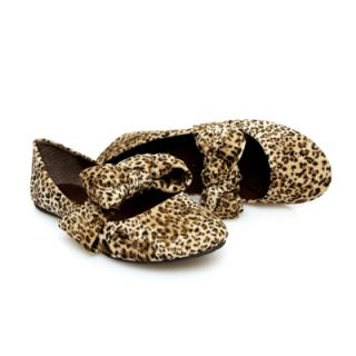 Stylish Comfy Suede Tan Cheetah Animal Print Mary Jane Bow Ballet Flat