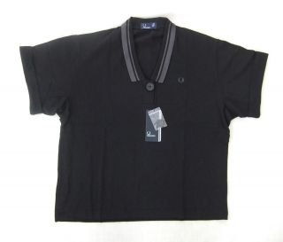 New Fred Perry G6748 Womens Black Oversized Pique Polo Shirt BNWT