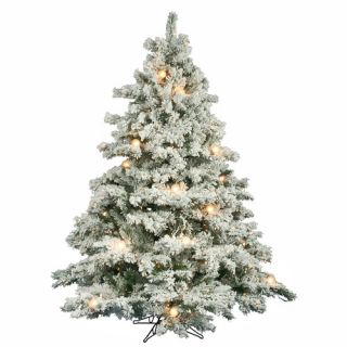 Vickerman Flocked Alaskan 6 5 Artificial Christmas Tree with Clear