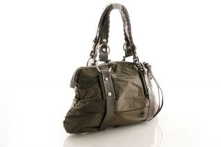 FRANCESCO BIASIA Butterfly Glam Coffee Nylon & Leather Satchel HANDBAG