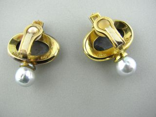 Estate Elizabeth Gage 18K Gold Pearl Diamond Earrings