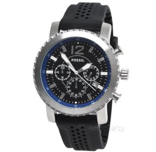 FOSSIL Mens Chronograph Watch, Black & Blue Dial w/ Date, Silicone