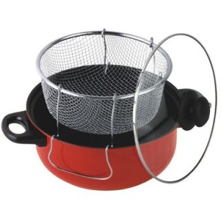 Chef 4.5 Quart Non Stick Deep Fryer with Frying Basket and Glass Cover