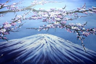 60 Japanese Cherry Blossom Snow Fuji Original Modern Abstract Art Oil