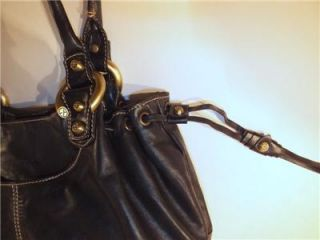 Francesco Biasia Large Black Soft Genuine Leather Hobo Drawstring Tote