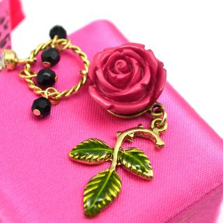 Original Betsey Johnson Secret Garden Rose Flower Long Drop Earrings