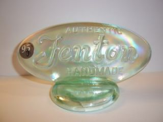 Fenton Glass Willow Green Carnival Dealer Logo Display Sign Franks