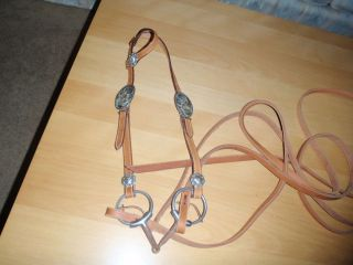 Racing Horse Headstall Frances Gauthier O Ring Snaffle Leather Reins