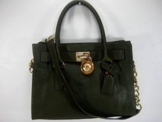 Michael Kors Loden Green Hamilton Leather East West Satchel Tote Bag $