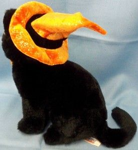 Black Cat Plush Toy Halloween Witch Orange Hat Bow Kitten Animal Alley