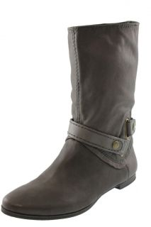 Nine West NEW Gellar Gray Leather Ankle Strap Flat Mid Calf Boots