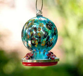 MILLEFIORI AQUA   Glass Hummingbird Feeder  Bird Brain Nectar Feeder