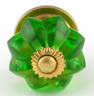 Lg Green Glass Cabinet Knobs Kitchen Cupboard Drawer Pull Melon