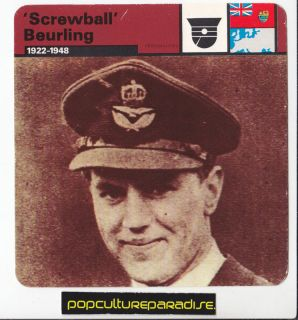 George Screwball Beurling Canadian Ace Pilot WW2 Card
