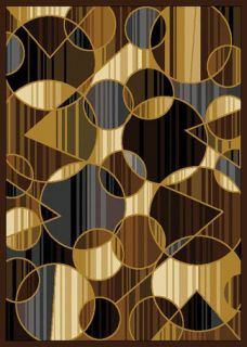 Modern Abstract Geometric Shapes 5x8 Black Area Rug Actual 5 2 x 7