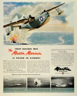 1945 Ad Martin Aircraft Military Mariner Airplanes Air Force WWII War
