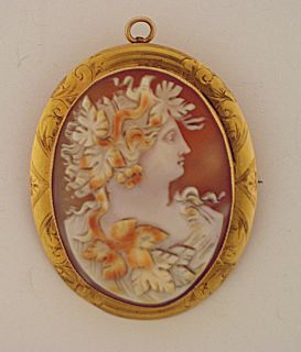 Vintage Antique 10K Yellow Gold Shell Cameo Brooch Pin Pendant