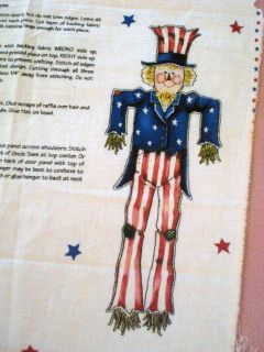 Daisy Kingdom Scarecrow Uncle Sam USA American Flag Door Panel Craft