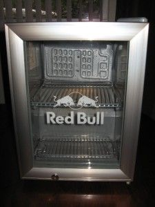 Spring Loaded Closure Red Bull Energy Drink Mini Fridge Cooler