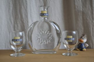 French Richard Pastis Glass Water Carafe Pitcher Glasses