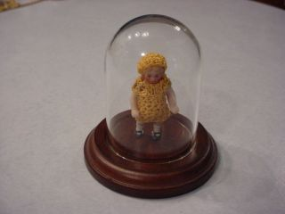 German Bisque Porcelain Doll w/ Miniature Glass Dome Wood Display Case