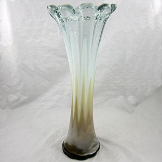 Art Glass Vase Large Mouth Blown Hand Worked Cased Glass Vase Made in