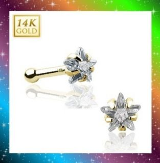 14k Solid Yellow Gold Nose Stud Ring 3mm Clear CZ Star Prong Set