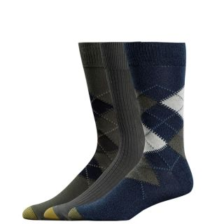 Gold Toe Mens Casual Socks Argyle Denim Olive Navy 3P